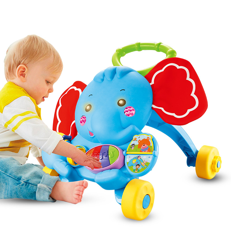 Factory Tmall Signature Baby Children Learn Elephant Power Step Car Toy Infant Cart Multi-functional Anti-Skid