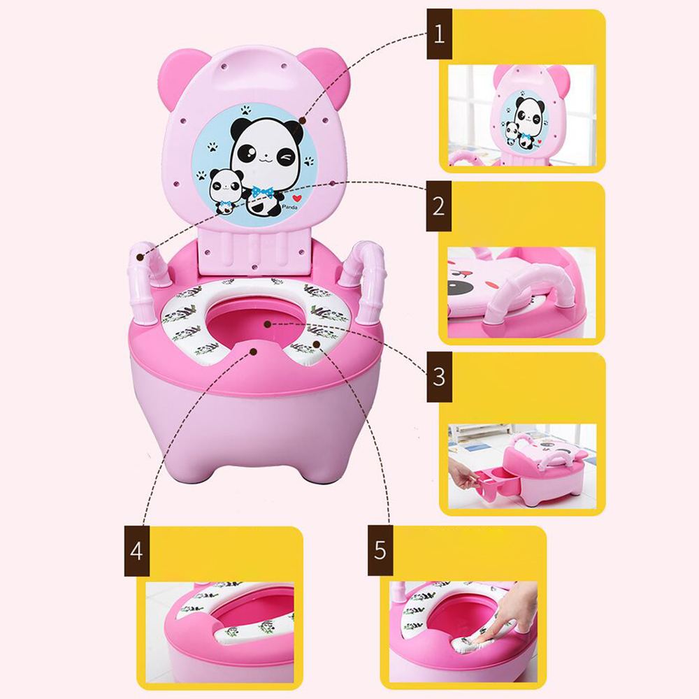 Baby Pot Kids Cartoon Panda Toilet Trainer Children Training Potty Toilet Seat Portable Travel Urinal Comfortable Backrest Pots | Happy Baby Mama