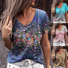 Summer Women's Sexy Short Sleeve Casual T-Shirts Flower Print Vintage Y2K Top Female V-Neck Loose Oversize Plus Size Streewear