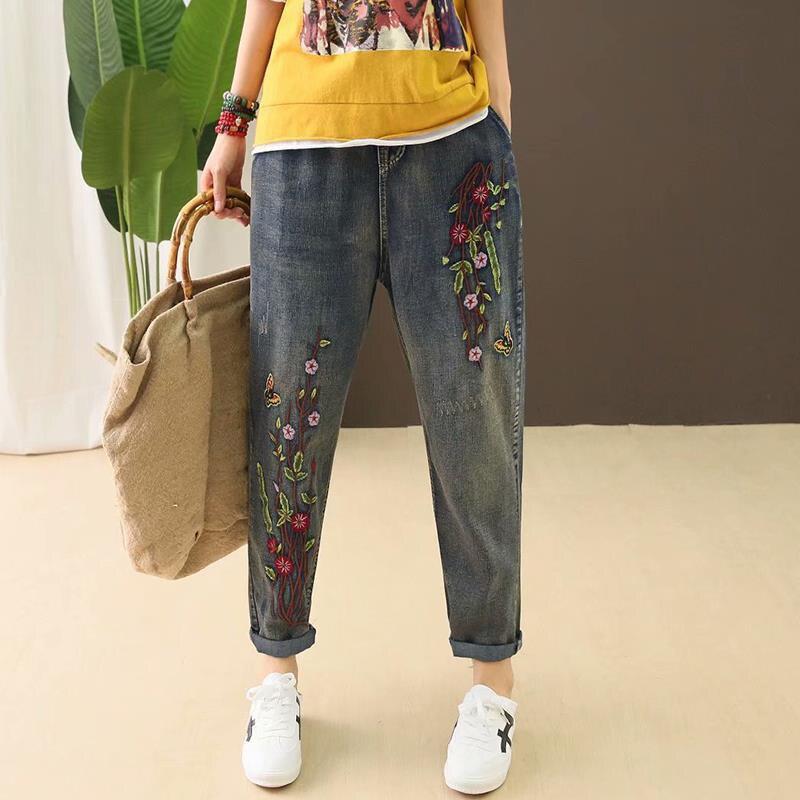 New Arrival Spring Autumn Women Elastic Waist Cotton Denim Harem Pants Flower Embroidery Vintage Loose Jeans Plus Size D493