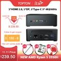 Topton AMD Ryzen 5 3550H четырехъядерный мини-ПК Vega 8 Графический 3x4K дисплей DP HDMI2.0 Type-C Настольный игровой компьютер NVMe AC WiFi BT