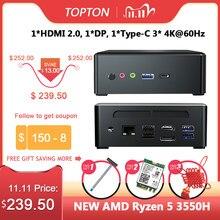 Topton amd ryzen 5 3550h quad core mini pc vega 8 gráfico 3x4k exibição dp hdmi2.0 tipo-c computador de jogos de mesa nvme ac wifi bt