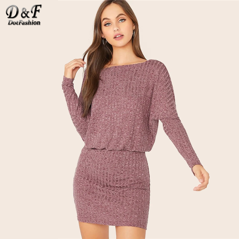 Dotfashion Casual Batwing Sleeve Bodycon Dress Women 2019 Autumn Long Sleeve Pencil Dresses Ladies Rib-knit Mini Dress
