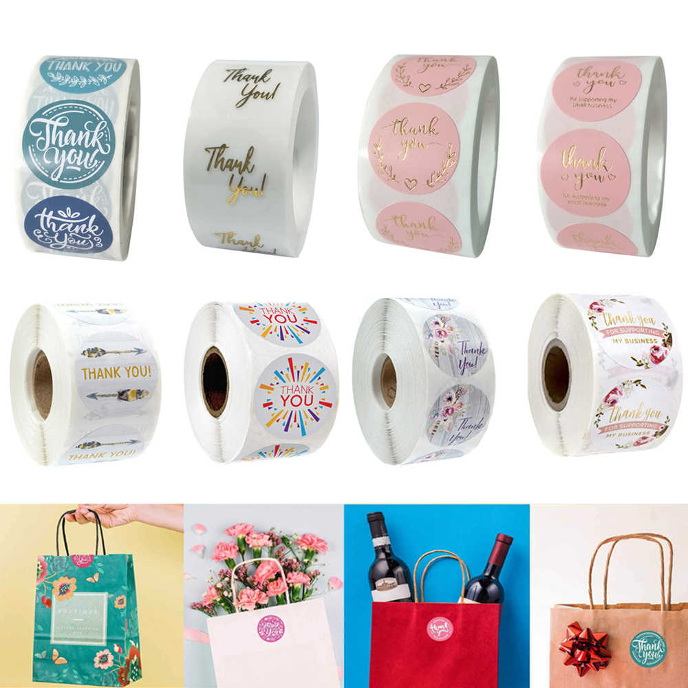 Sealing Craft Thank You Stickers Self Adhesive Gift Paper Sticker Flower labels