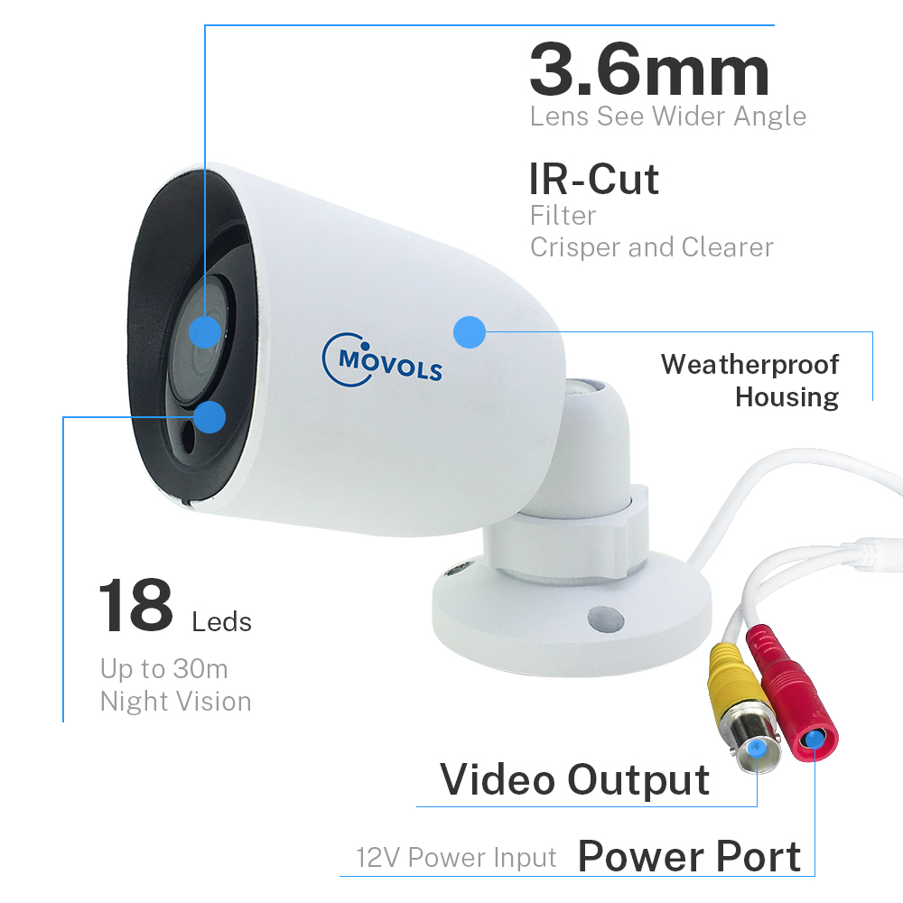 Image 3 - Movols 5MP kamera ochrony AHD/TVI/CVI/analogowe 4 w 1 kamera noktowizyjna z 60ft CCTV BNC i DCplug kabel do System DVRKamery nadzoru   -