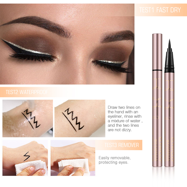 O.TWO.O 24 Hours Lasting Eyeliner Liquid Black Color Waterproof Eye Liner Pencil Smudge-Proof Cosmetic 2