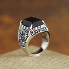 925 Sterling Silver Old Silver Craftsman Handcrafted Olive Branch  Black Agate Ring Fashionable Individual Men's Ring