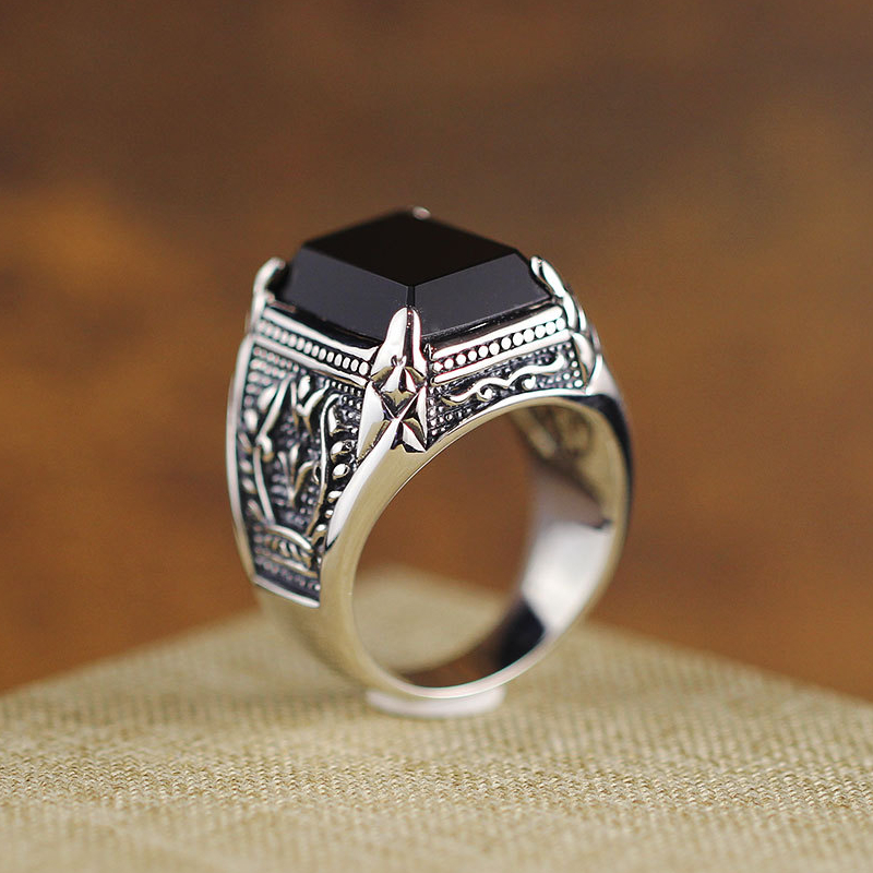 925 argent Sterling vieux argent artisan artisanal branche d'olivier noir Agate anneau à la mode individuel hommes anneau