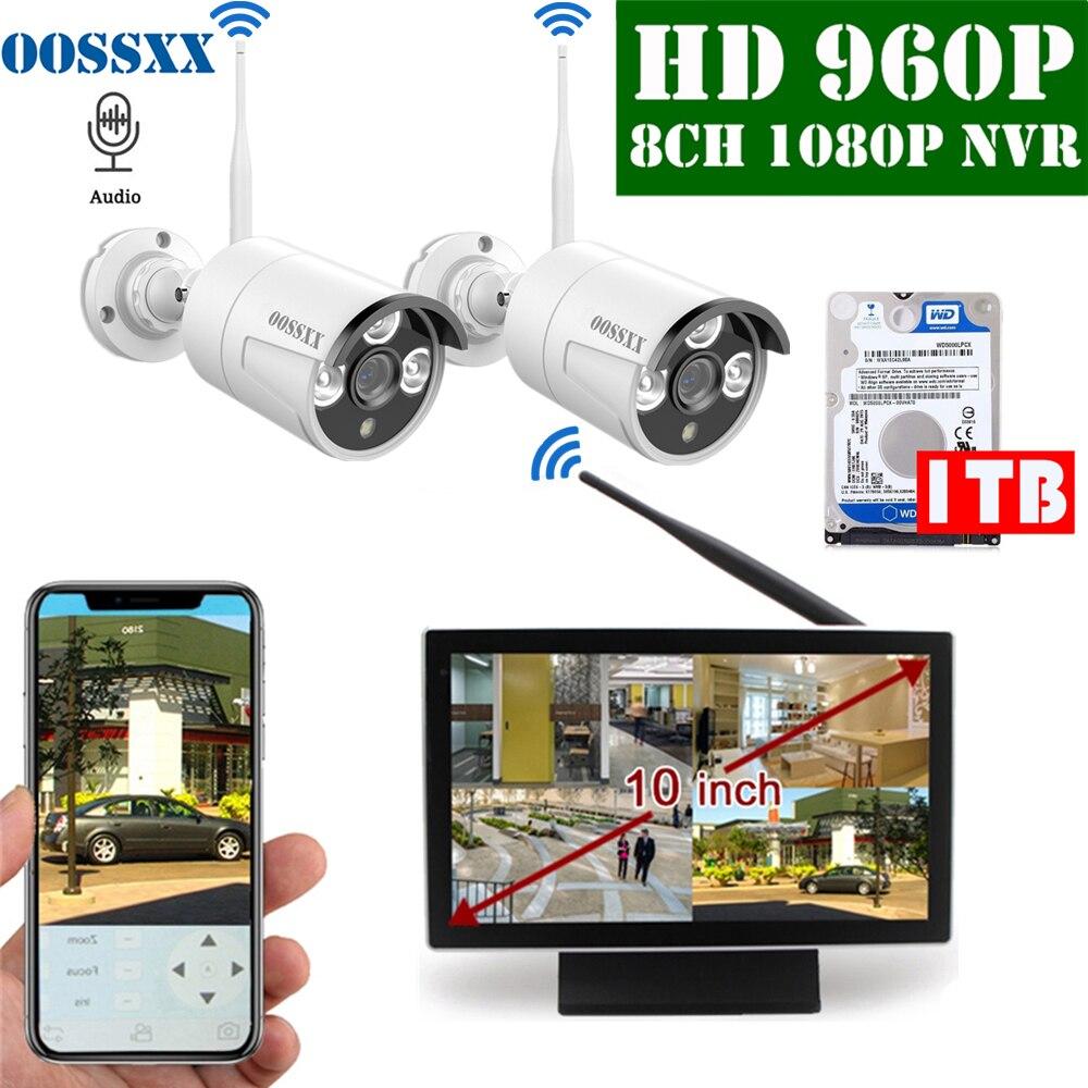 OOSSXX 8CH 1080P Wireless NVR Kit 10' Monitor Wireless CCTV 2pcs 960P Audio Indoor Outdoor IP66 Camera Video Surveillance System|Surveillance System| |  - title=