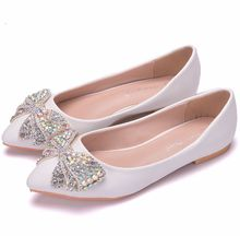 Fashion new summer rhinestone women's shoes bow pointed shallow mouth white single shoes women's scoop shoes flat shoes Z207