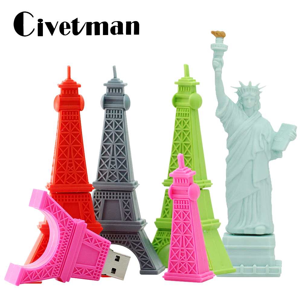 USB Flash Drive Cartoon Eiffel Tower Statue Of Liberty Shape 16GB 32GB 64GB 128GB USB 2.0 Pen Drive Memory Stick Pendrive 256GB