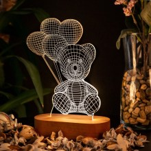 Balloon Teddy Bear 3D Lamp LED Night Light Action Figure Table Decoration Light Optical illusion
