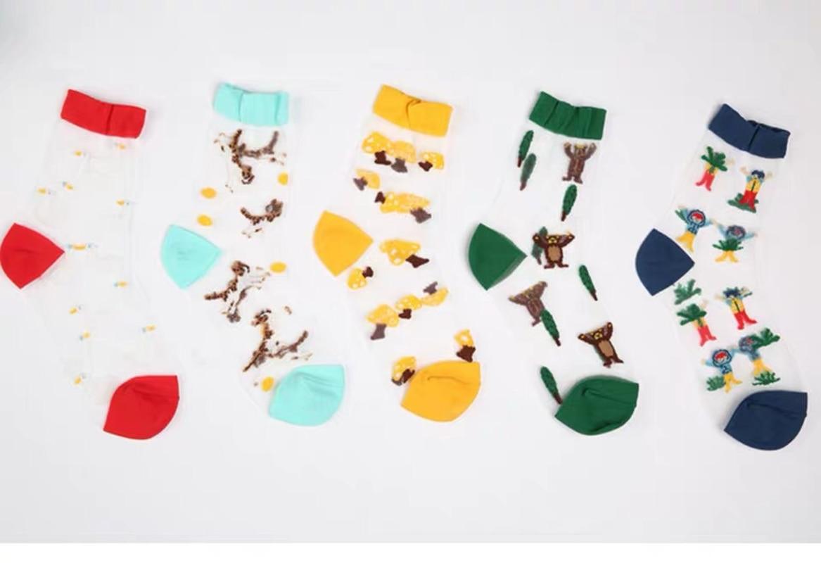 Spring and summer new ladies boat socks personality marine series card silk women 39 s socks glass socks in Socks from Mother amp Kids