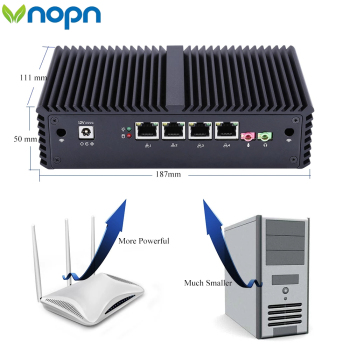 computers Fanless Mini PC PFSense Firewall Router Qotom with Core i3 i5 processor and 4 Gigabit NICs, AES-NI, RS232,