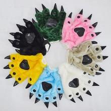 Детские перчатки для костюмированной вечеринки, милые Мультяшные перчатки с лапой, плюшевые теплые когти, вышивка динозавр, детские перчатки для костюмированной вечеринки, вечерние