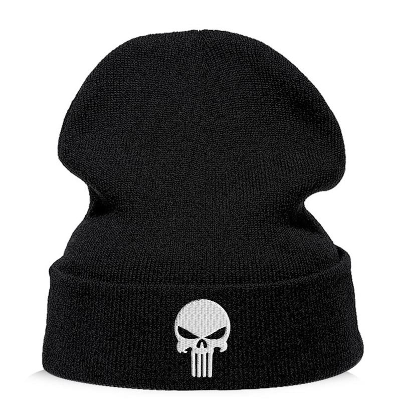 Beanie   Hat   Skullie   Cap Slouchy Winter Embroidery Cool Punk Men Women Boy Girl Teens Street Dance Skull Skelton Black White pink