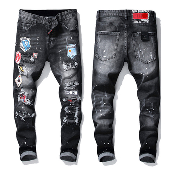 Ripped torn mens jeans black embroidery slim skinny stretch pants men trousers clothes hip hop streetwear Autumn Winter