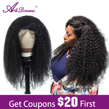 Alidoremi Afro Kinky Curly Wig Lace Front Human Hair Wigs Remy Brazilian Hair 13x4 Lace Closure Wig Pre Plucked With Baby Hair afro kinky curly free part baby hair glueless lace front wig baby hair 12 26inch full lace wig cheap wigs for african women