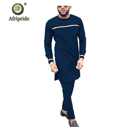 2019 Men`s Suit African Dashiki Coats Jacket+Ankara Pants 2 Piece Set Long Sleeve Shirt Tracksuit Pockets AFRIPRIDE S1916037