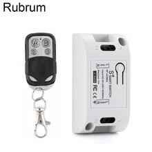 Rubrum 433 Mhz 범용 무선 원격 제어 AC 110V 220V 1CH RF 릴레이 수신기 모듈 및 RF 433 Mhz 4 버튼 원격 제어