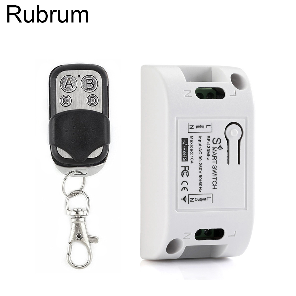 Rubrum 433Mhz Universal Wireless Remote Control AC 110V 220V 1CH RF Relay Receiver Module & RF 433 Mhz 4 Button Remote Control title=