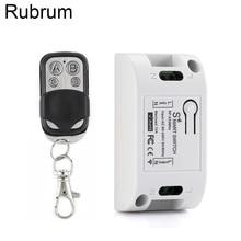 Rubrum 433Mhz Universal Wireless Remote Control AC 110V 220V 1CH RF Relay Receiver Module & RF 433 Mhz 4 Button Remote Control