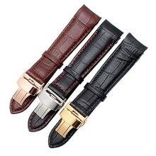 Otmeng bezerro pulseira de relógio de couro genuíno 18mm 19mm 20mm 21mm 22mm 24mm adequado para tissot seiko omega pulseira de relógio pulseiras