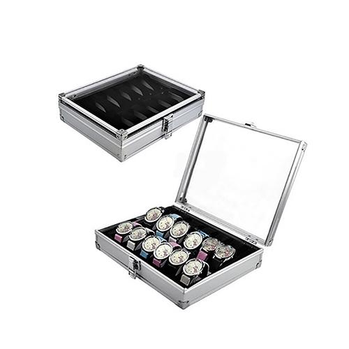 6/12 Grid Slots Jewelry Watches Display Storage Box Aluminium Case Holder Display Storage Box Aluminium Organize