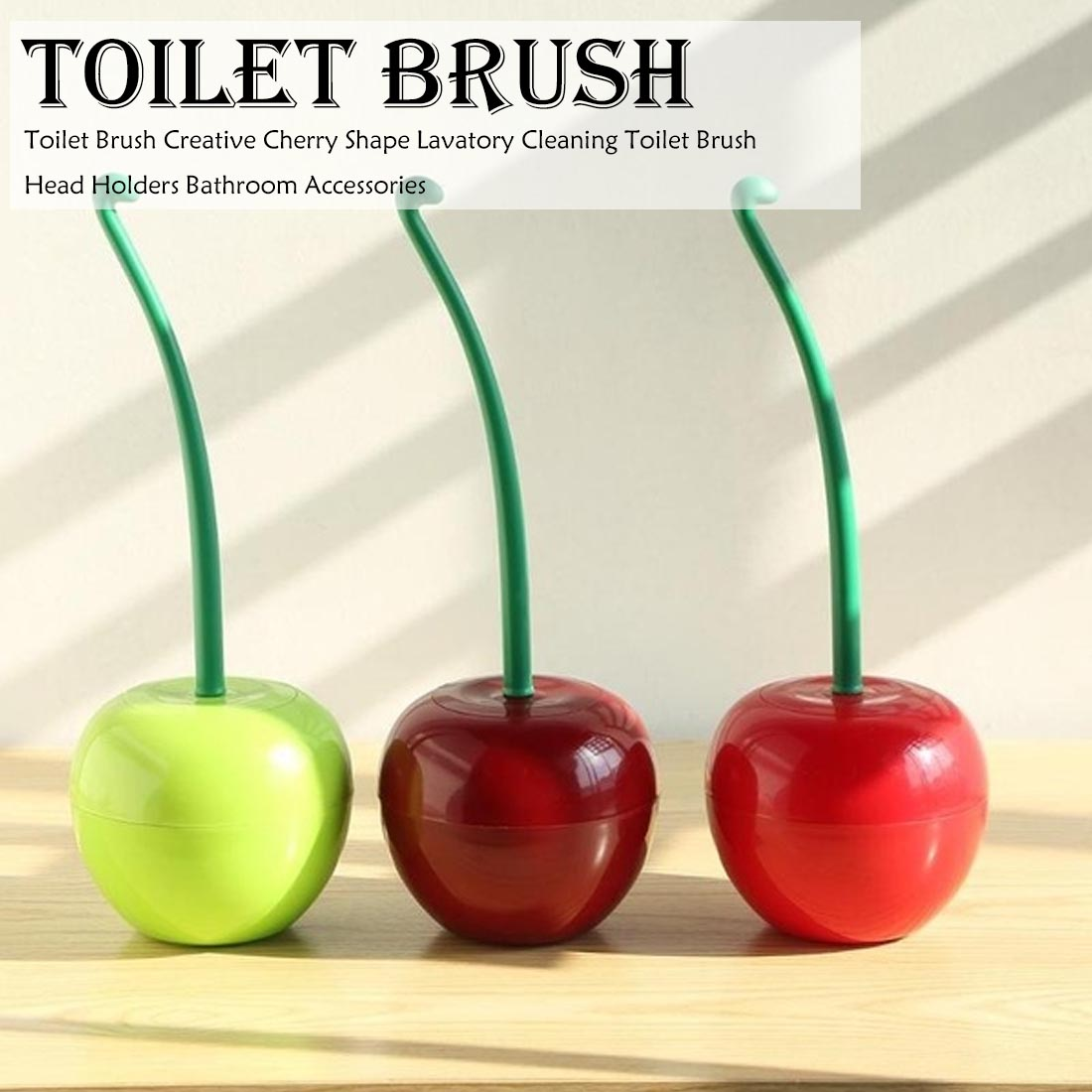 Bathroom Toilet Brush Creative Lovely Cherry Shape Lavatory Brush Toilet Brush And Holder Set Move Cherry 380x130mm