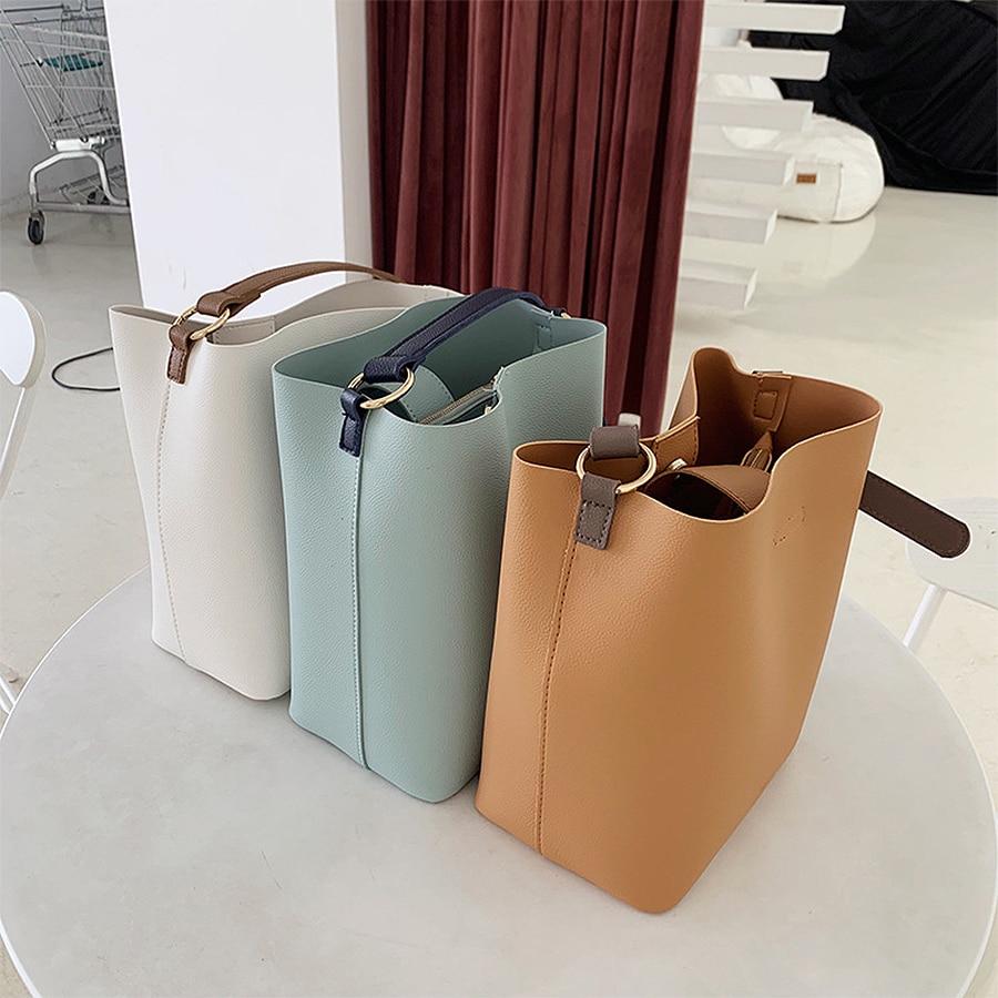 Casual Women'S Bucket Bag Shoulder Handbag PU Leather Large Capacity High Quality Crossbody Bag Women 2019 Shoulder Bags