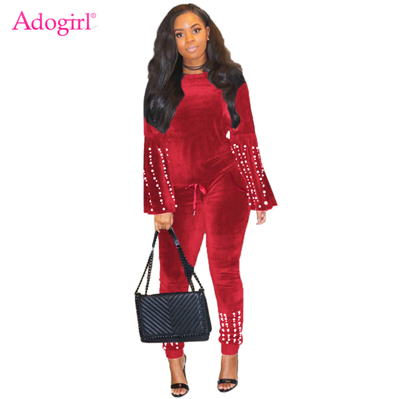 Adogirl Christmas Pearls Accent Velvet Two Piece Set O Neck Long Flare Sleeve Sweatshirt Pullover Top Casual Pants Tracksuit