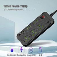 Desktop Multi Power socket Plug with 5 AC Outlets QC 3.0 3 USB Fast Charging Ports Socket Adapter US UK EU AU Timer Power Socket