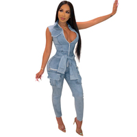 Fake Sleeve Tie Fashion Button Washed Denim Jumpsuit 2019 Autumn New Women's Sexy Nightclub Denim Jumpsuit
