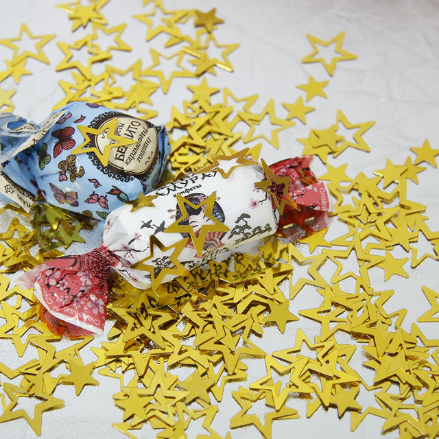 1000 قطعة/الحقيبة الذهب لامع الجوف نجوم Confettis لحفل زفاف الديكور لتقوم بها بنفسك عيد ميلاد زينة تزيين في العطلة البلاستيكية المورد