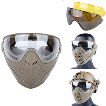 airsoft paintball mask safety protective anti fog goggle full face mask with black yellow clean lens tactical shooting equipment Tactical Airsoft Mask Shooting Paintball Combat Camouflage Masks Hunting With 3 colors Lens Safety Goggle Full Face Helmet Mask