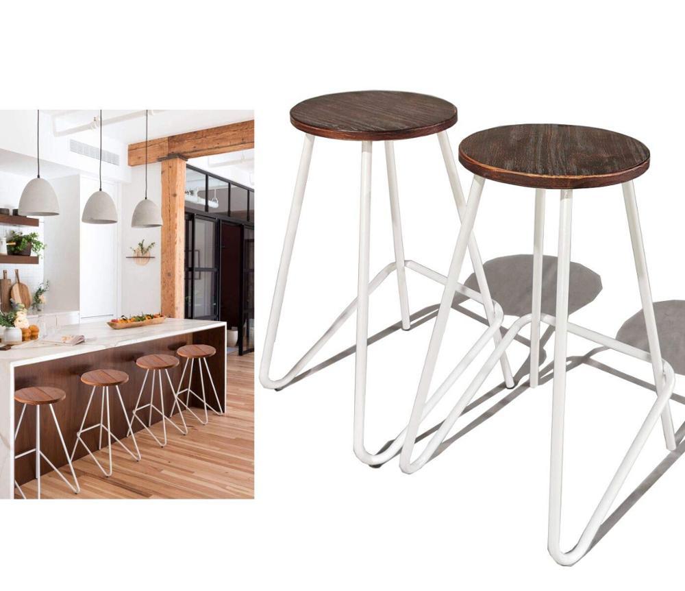 Awe Inspiring Us 99 0 Industrial Bar Stools Kitchen Dining Chair Wood Metal Bar Stool Set Of 2 Bar Chairs On Aliexpress Machost Co Dining Chair Design Ideas Machostcouk