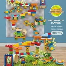 Criativo mármore corrida grande partícula bola pista blocos de construção funil deslizamento grandes tijolos brinquedos educativos para crianças