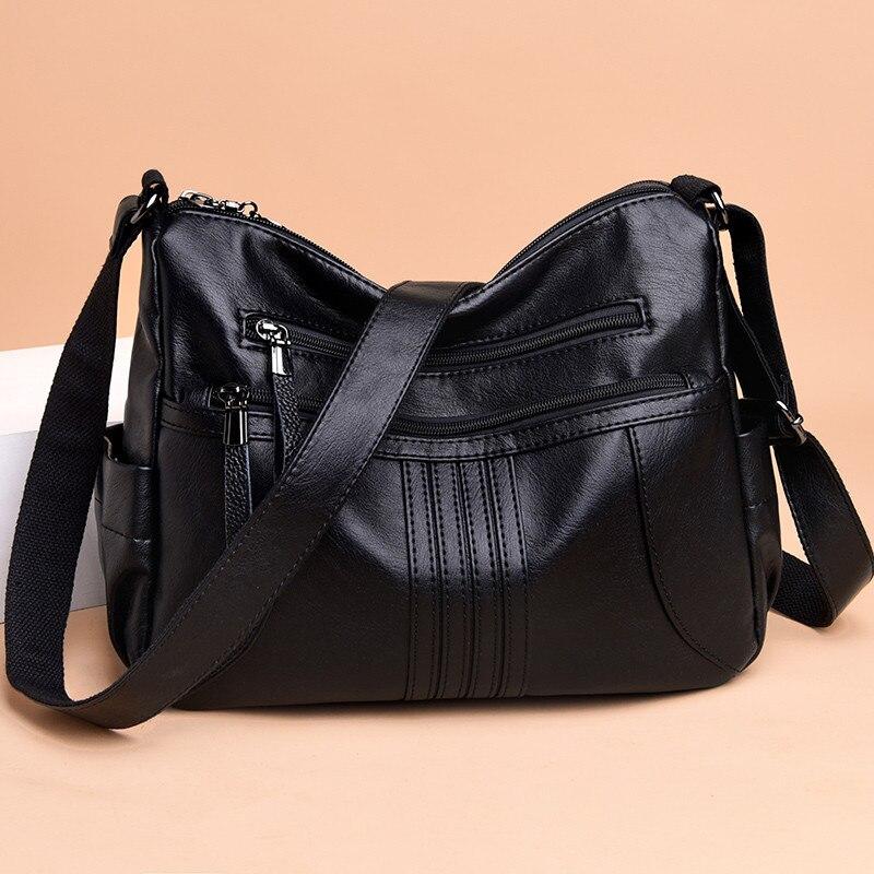 Image 2 - 2019 женская сумка через плечо, Роскошная большая сумка из мягкой кожи, женские сумки мессенджеры, большие женские сумки, дизайнерская брендовая сумка bolsa feminina-in Сумки с ручками from Багаж и сумки
