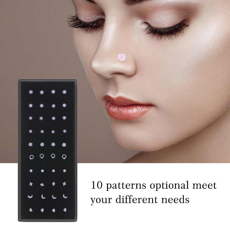 40pcs Nose Studs Plastic Transparent Nose Piercing Jewelry Women