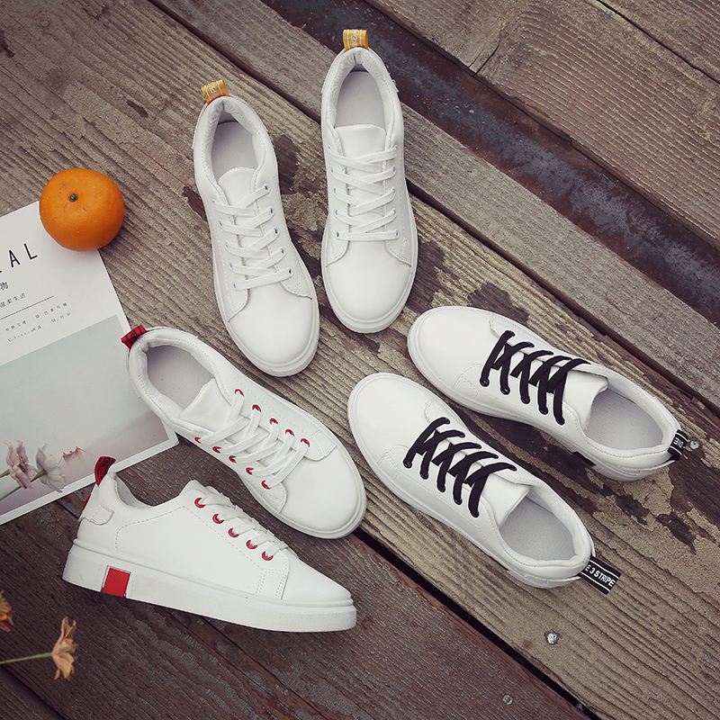 New Women Sneakers Breathble Vulcanized Shoes Pu Leather Platform Lace Up Casual White Tenis Feminino Zapatos De Mujer