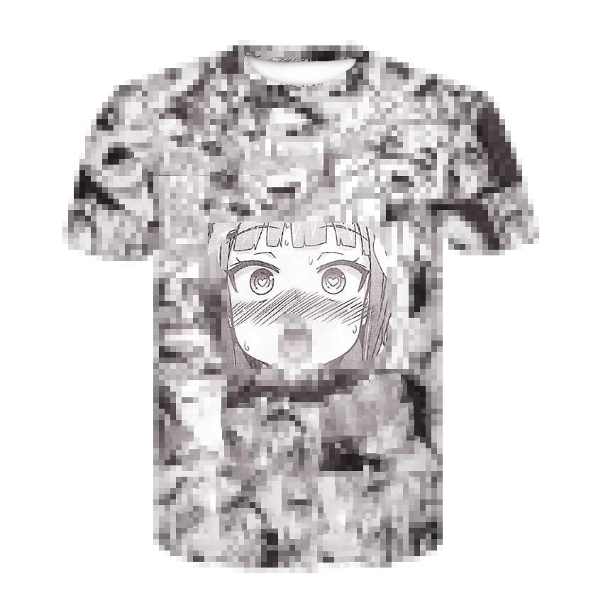 Ahegao 3D Print Anime T Shirt Men Women Harajuku Face Red Woman Cartoon T Shirts Funny Shy Girl Sexy Tops Summer Cute Clothing