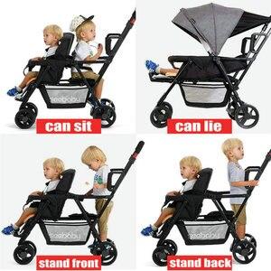 Image 2 - תאומים בייבי עגלת קל משקל יילוד עגלת תינוק יכול לשבת ולשכב כפול מושבי תינוק עגלות קל מתקפל Trave Pram