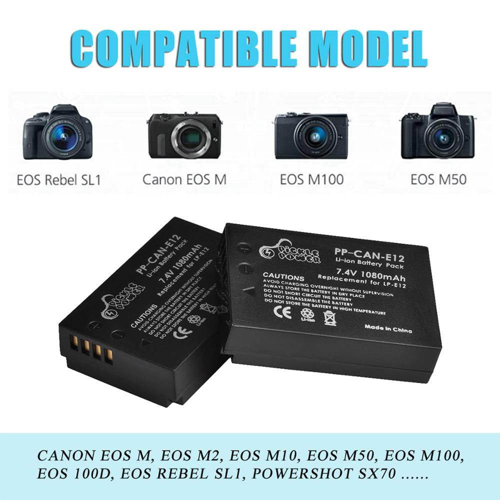 LP-E12 LP E12 LPE12 Battery & LCD USB Dual Charger for Canon EOS M EOS M10 M50 M100 100D Kiss X7 Rebel SL1 Camera 3