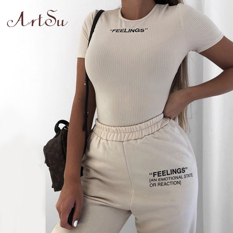Artsu Feelings Letter Print Outfits Sweatpants  Women Streetwear Joggers High Waist Loose Pants Casual Trousers 2020 ASPA60957