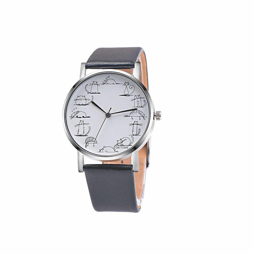 ريترو تصميم جميل الكرتون القط الساعات الرجال حلقة من جلد التناظرية سبيكة كوارتز ساعة معصم المرأة اللون ساعة Relogio Masculino