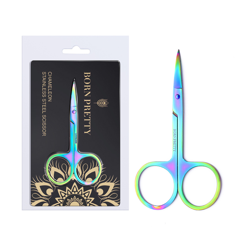 BORN PRETTY 1 Pc Chameleon Manicure Scissor For Nail Cuticle Makeup Curved Head Eyebrow Scissor Dead Skin Remover Nail Tool