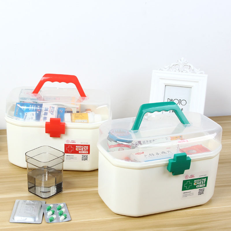 Small Medicine Box First Aid Kit Medical Box Double Layer Medicine Box Hand Chest For Household Indoor 2 Color