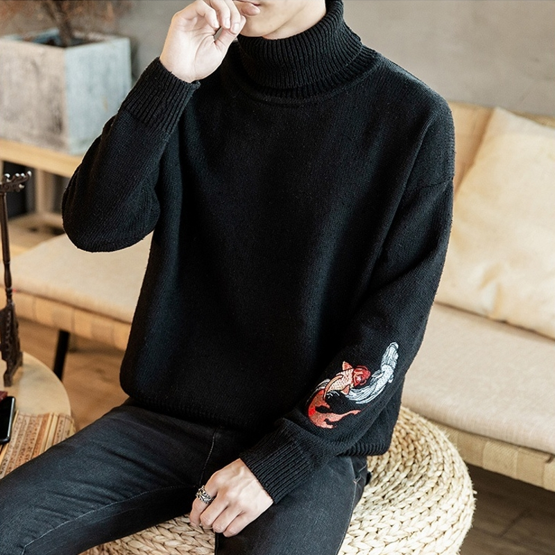 Fish Embroidery Turtleneck Men Sweater Turtle Neck Men Pullover Sweater Men Coat XXXL New Autumn Winter Man Sweaters