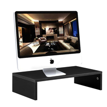 Wood Arm Riser Desk Storage Organizer 16.7 inch Computer Monitor Stand Clamp Desk TV Shelf Risers for Living Room Office Bedroom