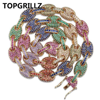 TOPGRILLZ 12MM Mixed Color Cubic Zircon Cuban Link Necklace Bling Men's Hip hop Jewelry 18 K Copper Iced Cuban Chain For Gift